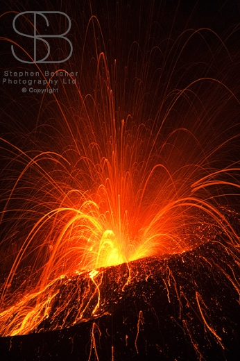 Krakatoa Volcano, Anak Krakatoa, Krakatau, Sunda Strait, Ujung Kulon National Park , Indonesia, vertical, close up, explosion, red, orange, yellow, lava, heat, hot, sparks, bright, exploding, erupting