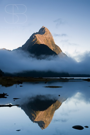 Mitre Peak, Dawn, Milford Sound, Fiordland National Park, New Zealand, vertical, reflection, mirror image, mist, fog, cloud, water, still, calm, tranquil, no people