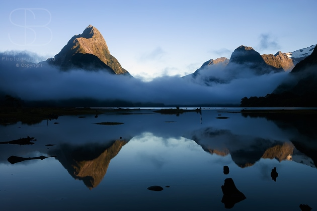 Mitre Peak, Milford Sound, Fiordland National Park, New Zealand, horizontal, water, reflection, cloud, sky, mist, mirror, no people